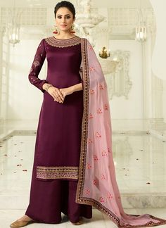 Plum Two Tone Traditional Embroidered Palazzo Suit Set shows combination of embossed zari and thread embedded designer traditional embroidery on heavy georgette satin fabric top with minimalist detail paired with designer santoon palazzo Pakistani Dresses, Indian Dresses, Indian Outfits, Hijabi Gowns, Pakistani Suits, Muslim Fashion, Bollywood Fashion, Indian Fashion, Bollywood Dress