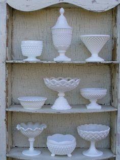 White, white white glass everywhere.  Vintage Milk Glass Collection