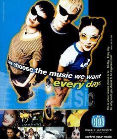 Ad for 'The Box' music network (Billboard Magazine - Sup Girl, 90s Design, Club Kids, Chor, Retro Futurism, Retro Aesthetic, Graphic Design Posters, Wall Collage, Art Inspo