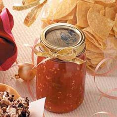 My favorite salsa! Mild Tomato Salsa Recipe from Taste of Home Canning Tips, Canning Recipes, Tomato Salsa Recipe, Guacamole, Mild Salsa, Taste Of Home, Stuffed Hot Peppers, Home Recipes, Dips