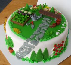 Garden - by aldoska @ - cake decorating website Garden Theme Cake, Garden Cakes, Cupcakes, Cupcake Cakes, Allotment Cake, Veggie Cakes, 70th Birthday Cake, Dad Cake, Retirement Cakes