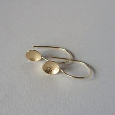 9ct yellow gold little leaf dish earrings by catherine woodall