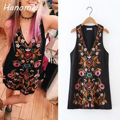 Bohemian Embroidery Summer Dress Women Sleeveless Mini Boho Dresses 2017 Sexy V Neck Vestidos Mujer Retro Black Robe Femme C141