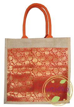 Handcrafted Jute Bag with Brocade Fabric. GO GREEN in style with these  Eco-friendly  e723e90dc5