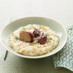 Fennel Risotto with Crispy Lamb Sausage // More Risotto Recipes: http://www.foodandwine.com/slideshows/risotto #foodandwine