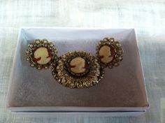 Vintage Cameo Brooch and Clip On Earrings
