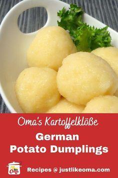 Easy German Recipes, Austrian Recipes, Hungarian Recipes, Hungarian Food, German Dumplings, Potato Balls Recipe, Traditional German Food, German Potatoes, Oktoberfest Food
