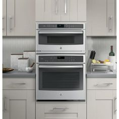 GE Profile 30 in. Electric Convection Wall Oven with Built-In Microwave in Stainless Steel-PWB7030SLSS - The Home Depot Built In Microwave, Built In Ovens, Microwave Oven Combo, Cooking Supplies, Fun Cooking, Cooking Fish, Cooking Steak, New Wall, Food Preparation