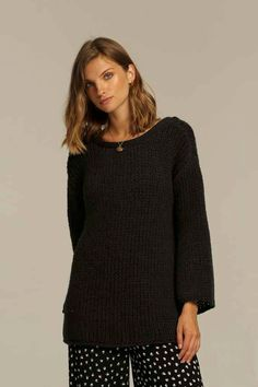 ed5ccc82d385 Rue Stiic loose knit Colt black charcoal knit sweater open back | Pipe and  Row -