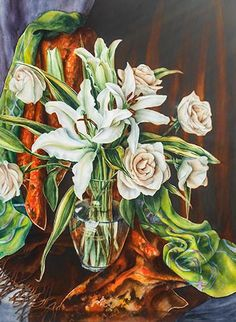 Still life watercolor painting of white lilies and roses by artist Lisa Hill
