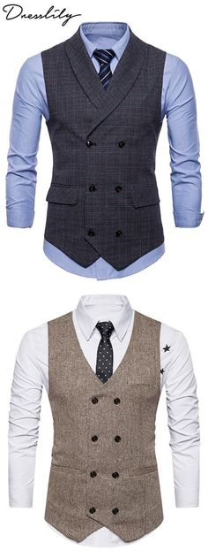Causal Vests & Waistcoats For Men Cheap Online Sale Double Breasted Waistcoat, Men's Waistcoat, Waistcoat Men Casual, Mens Suit Vest, Mens Suits, Waistcoat Designs, Designer Suits For Men, Mens Fashion Suits, Suit And Tie