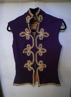 Vintage Circus Costume 1950s Trapeze Burlesque Purple Gold Trim Jacket and…
