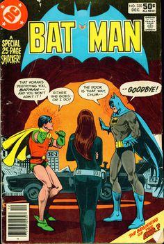 """Black Widow in the Batcave?"" - Batman n°330, December 1980, cover by Ross Andru, Dick Giordano, and Tatjana Wood"