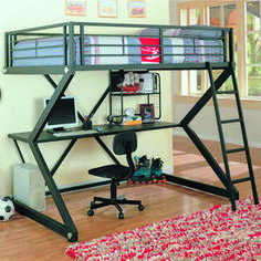 This Coaster Furniture Bunks Collection Workstation Full Loft Bed - Matte Black is perfect for a teen's bedroom or a college student. This loft. Bunk Bed Sets, Bunk Bed With Desk, Loft Bunk Beds, Modern Bunk Beds, Bunk Beds With Stairs, Full Bunk Beds, Kids Bunk Beds, Desk Bed, Full Bed