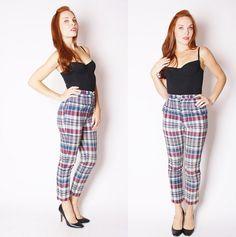 1950s Plaid Pants  Vintage 1950s Pants  Peddle by aiseirigh, $102.00 Plaid Pants, Harem Pants, Parachute Pants, Capri Pants, November 2013, Trending Outfits, My Style, 1950s, Picnic