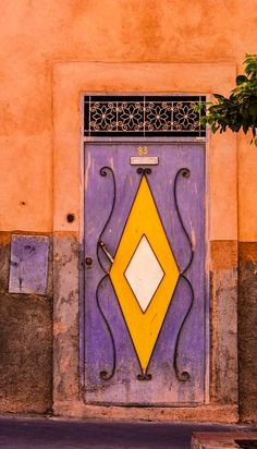 Marrakech, Morocco / view beautiful custom door hardware handcrafted by master… Entrance Gates, Grand Entrance, Old Doors, Windows And Doors, Portal, Purple Door, When One Door Closes, Door Gate, Door Knockers