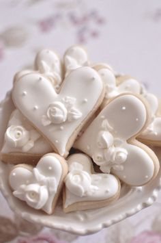 24 Pcs. Assorted White Heart Cookie Favor-White Wedding Favors, Bridal Showers, Bridemaids Gifts, Baby Showers