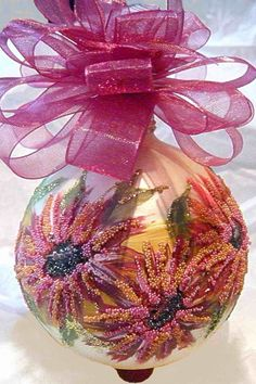 Hand Painted Flower Glass Ornament by KARCREATIONS on Etsy, $27.00