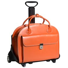 With this bright, zesty orange you will really stand out from the crowd! This McKlein Glen Ellyn wheeled briefcase is a refreshing addition to any professional wardrobe yet still offering all the practicality of the 2in1 system. Use it as a wheeled briefcase, a laptop bag, a leather work bag or a computer case. Or even add the shoulder strap and use as a handbag for after work. Lined in gold with orange highlights, this is a bag that really means business!