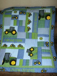 Addorable.......JOHN DEERE    Baby QUILT.......Homemade on Etsy, $49.99