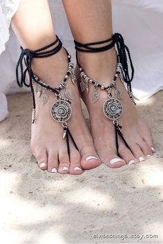 Black barefoot sandals Beach wedding anklet Gothic jewelry Foot jewelry Beaded barefoot sandal Footless sandals Soleless sandals Bottomless