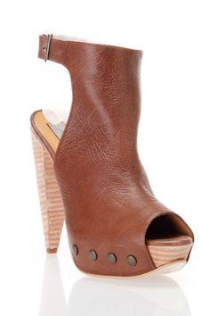 Plomo Natalia Peep Toe Heeled Clogs In Cognac