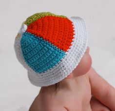 Items similar to Baby Crochet Beach Ball Hat, Crochet Cotton Cap, 3-6 Months on Etsy
