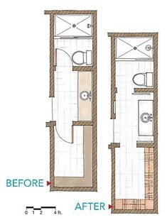 Floor Plan Long Narrow Bathroom Layout Caveat for small bathroom floor plans. As the small bathroom above shows adding a mirror across a whole wall can double the look and feel of a small room. Bathroom Closet, Bathroom Doors, Master Closet, Closet Bedroom, Bathroom Flooring, Bathroom Ideas, Bath Ideas, Bathroom Organization, Bathroom Storage