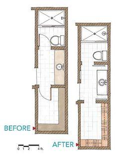 3ft x 9ft small bathroom floor plan long and thin with for Narrow bathroom floor plans