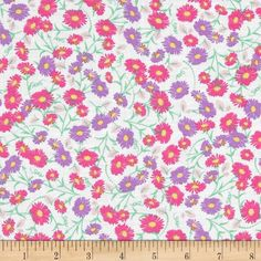 Fun Florals White from @fabricdotcom  This cotton print fabric is perfect for quilting, apparel and home décor accents. Colors include white, pink, purple and green.