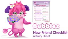 New Friend checklist - Free Fun Party Popples Printables and Activities   SKGaleana