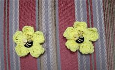 2 Yellow Crocheted Flowers Bee Buttons by TimeForCrochet on Etsy, $2.50