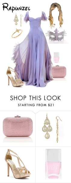 """Disney - Rapunzel"" by briony-jae ❤ liked on Polyvore featuring Judith Leiber, Carolee LUX, Touch Ups, Nails Inc., mizuki, women's clothing, women's fashion, women, female and woman"
