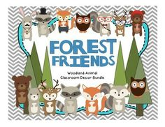 """This is 133-page bundle includes everything you need to get your woodland or forest animal classroom decor going. It includes word wall materials, number poster, color posters, table signs, station signs, calendar materials, """"what did the fox say?"""" memo board, desk tags, and more!"""