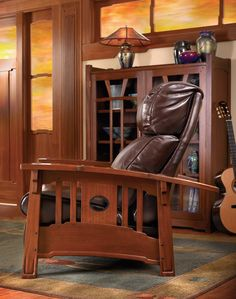This Stickley recliner is available from Doerr Furniture in many finishes, leathers, and fabrics. Available at Doerr Furniture in New Orleans.   doerrfurniture.com