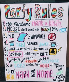 party rules – party rules – Category: Party ideen This image has get Party Set, Spa Party, Party Time, Teen Party Games, Sleepover Games, College Party Games, College Parties, Vsco, Party Funny