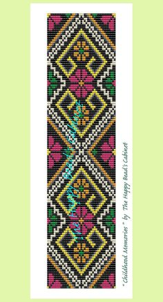 "Bead Loom Pattern , ""Childhood memories"" - INSTANT DOWNLOAD PDF , bracelet, cuff, jewelry"