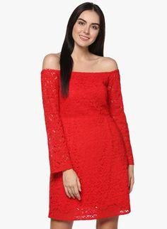 Red Off Shoulder Best Online Fashion Stores, Online Shopping Sites, Jumpsuit Dress, Buy Shoes, Shoe Brands, Party Dress, India, Shoulder, Red