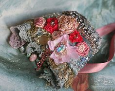 Spring petals romantic shabby chic wrist cuff by FleursBoheme Textile Jewelry, Fabric Jewelry, Jewellery, Satin Rose, Pink Satin, Fabric Bracelets, Gypsy Jewelry, Antique Lace, Vintage Textiles