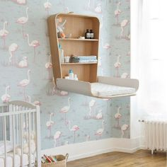 This is great for your nursery room. Instead of having a changing table, this wall mounted cabinet has a built in changing table where you can put your baby. Apart from being space saving, it's also convenient since everything you need is reachable.