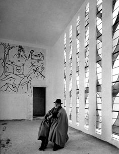Dmitri Kessel: Artist Henri Matisse sitting in the interior of chapel he designed. Vence, France, 1951