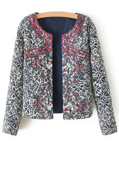 Ethnic Print Long Sleeves Coat
