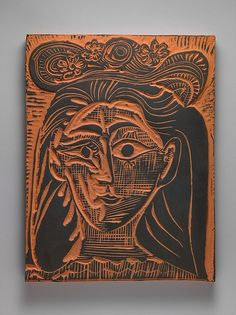 Jacqueline in a Flowery Straw Hat by Pablo Picasso, 1964, Terracotta with black slip