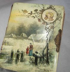 Antique Vintage Celluloid Photo Album. Contains an old cabinet card and tin type picture by VintageSouthernPicks