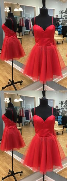 Party dresses,red spaghetti homecoming gowns, cheap a-line fashion gowns