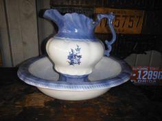 Beautiful Large Vintage Blue White Decorative Pitcher & Wash Basin Bowl (Blue Rose)