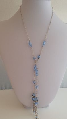 Swarovski Crystal Lariat Tassel Necklace Light Blue with 925 Sterling Silver Rondelle Beads Layering Boho Trendy Womens LGBStyles Jewelry by LGBStyles on Etsy