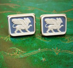 Large Griffin Cufflinks Vintage Winged Lion by NeatstuffAntiques