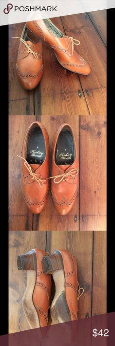 True Vintage ladies leather dress shoes. These are amazing and rarely come around in this condition. All leather uppers and soles with beautiful wooden heels. The right outer sole has been slightly added to address wearers gait but it is slight and excellently done. You can not feel any difference on. The brand is FASHION BROADS which just makes the even better and they were made by SKERRY as clearly shown still. A retro wardrobe must. VINTAGE Shoes Flats & Loafers