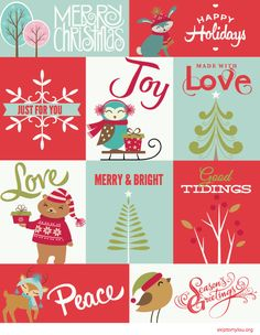 Darling free Christmas printable gift tags. Download the file and print to have festive holiday packages. Cute modern designs! From @skiptomyloublog